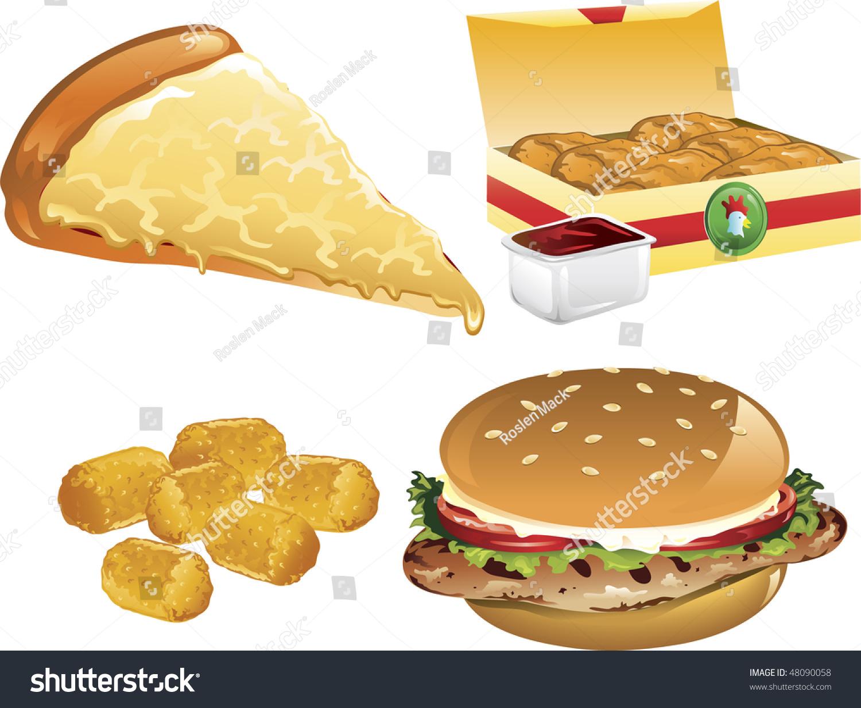 插图的芝士披萨,马铃薯小孩,鸡块,烤鸡三明治-食品及