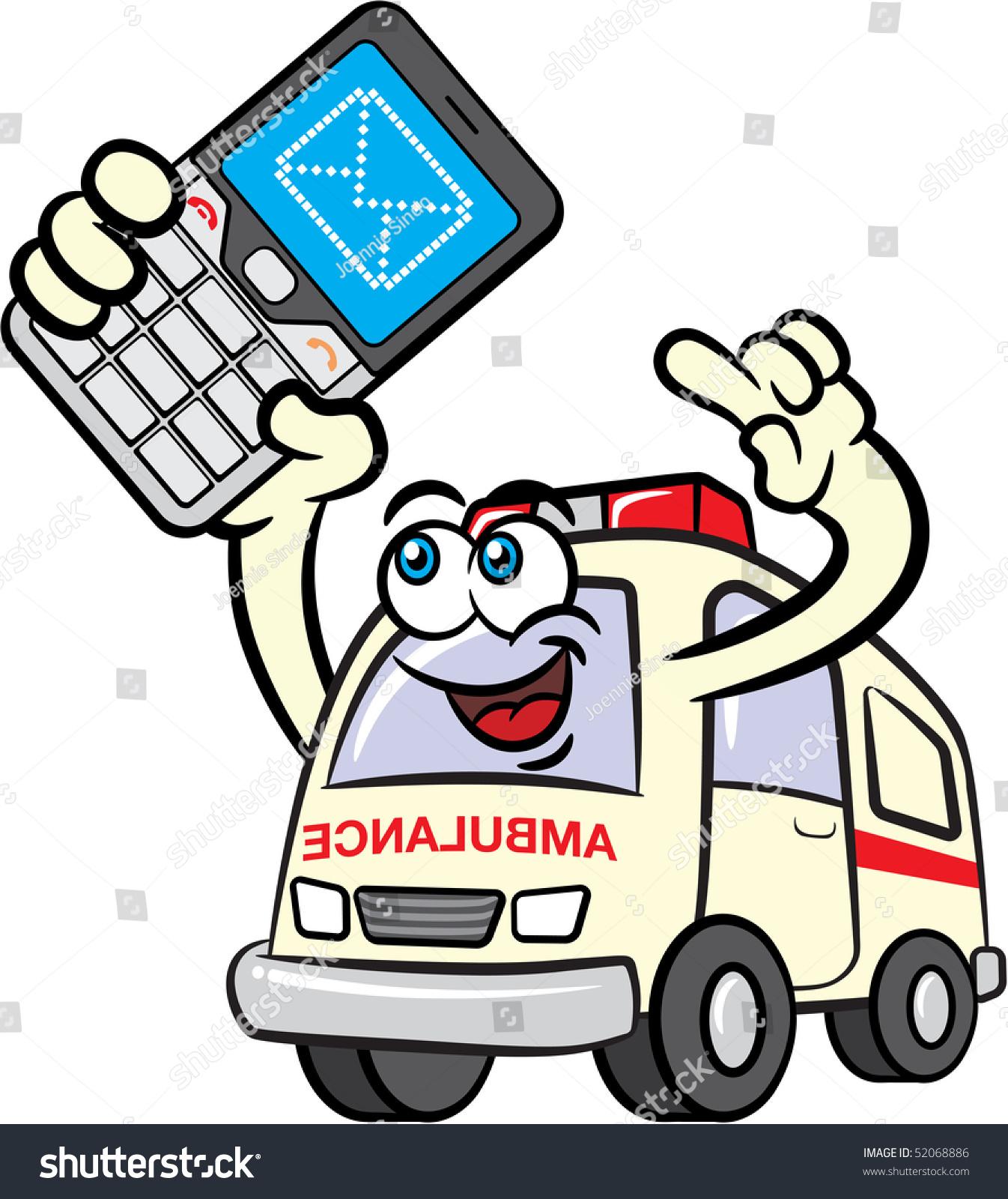 插图的救护车卡通吉祥物字符用手机发送短信-插图/图图片