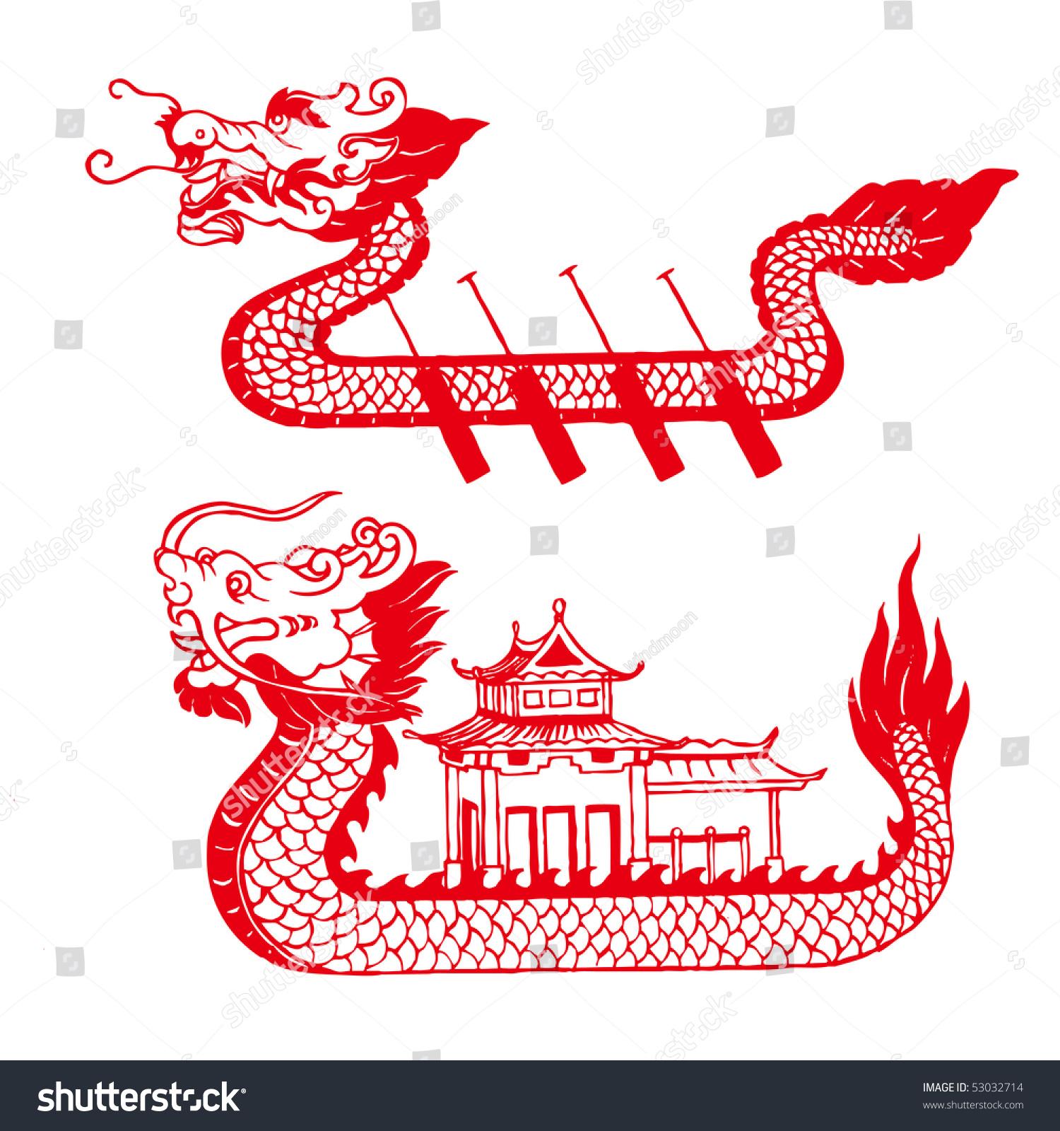中国剪纸——龙舟-假期,艺术-海洛创意(hellorf)-中国图片