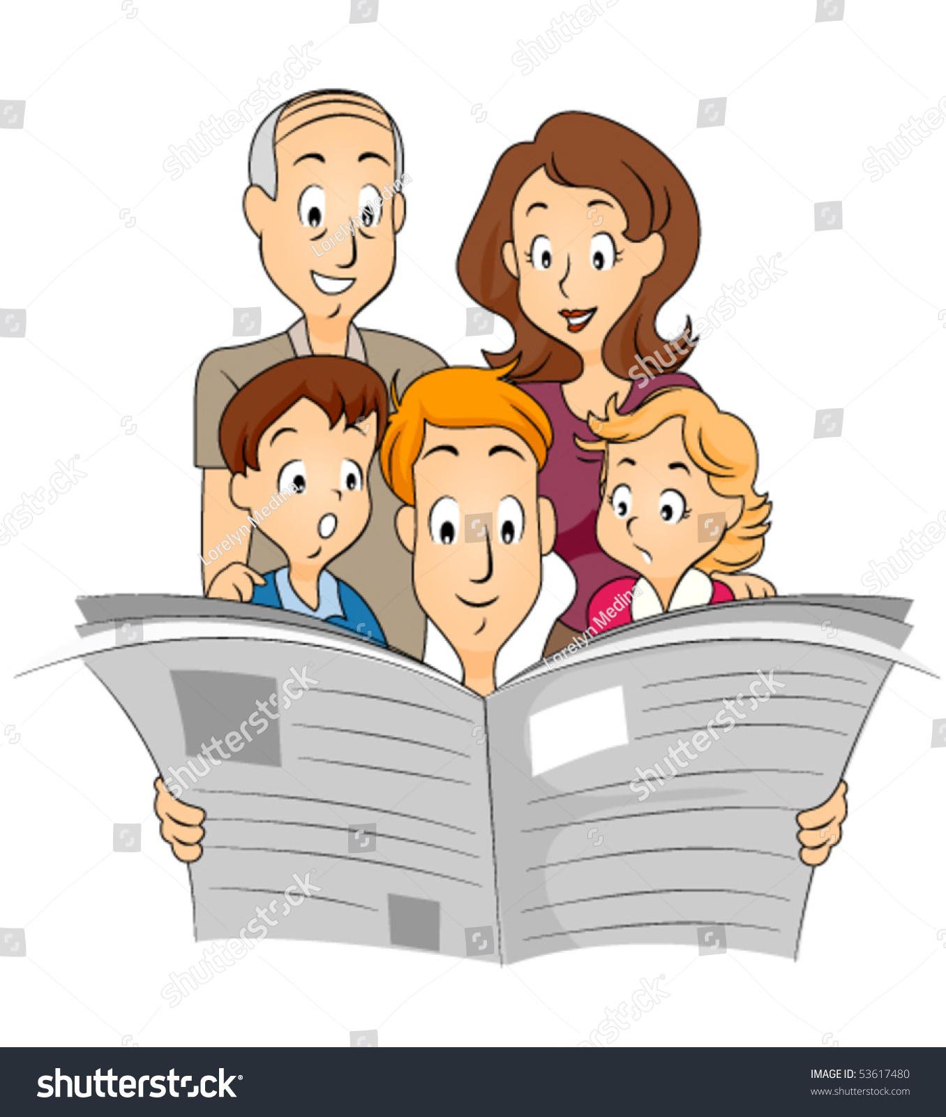 家庭阅读报纸——向量-插图/剪贴图,交通运输-海洛()