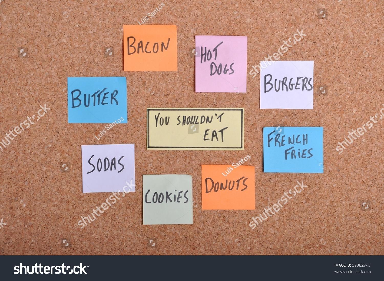 你不应该吃概念用彩色纸笔记公告栏-食品及饮料,交通