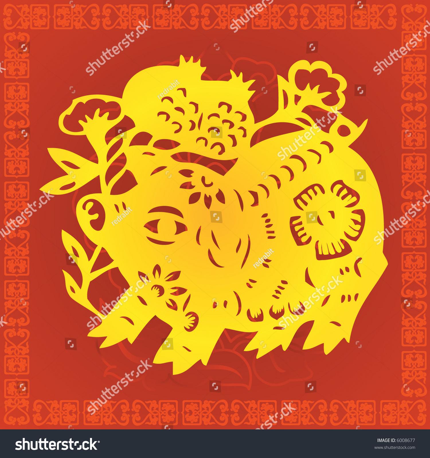 猪生肖符号的剪纸风格(矢量)-动物/野生生物,插图/图