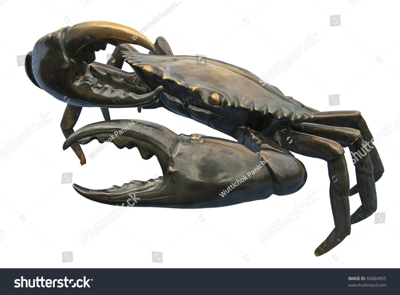 白底黑蟹雕塑-公园/户外