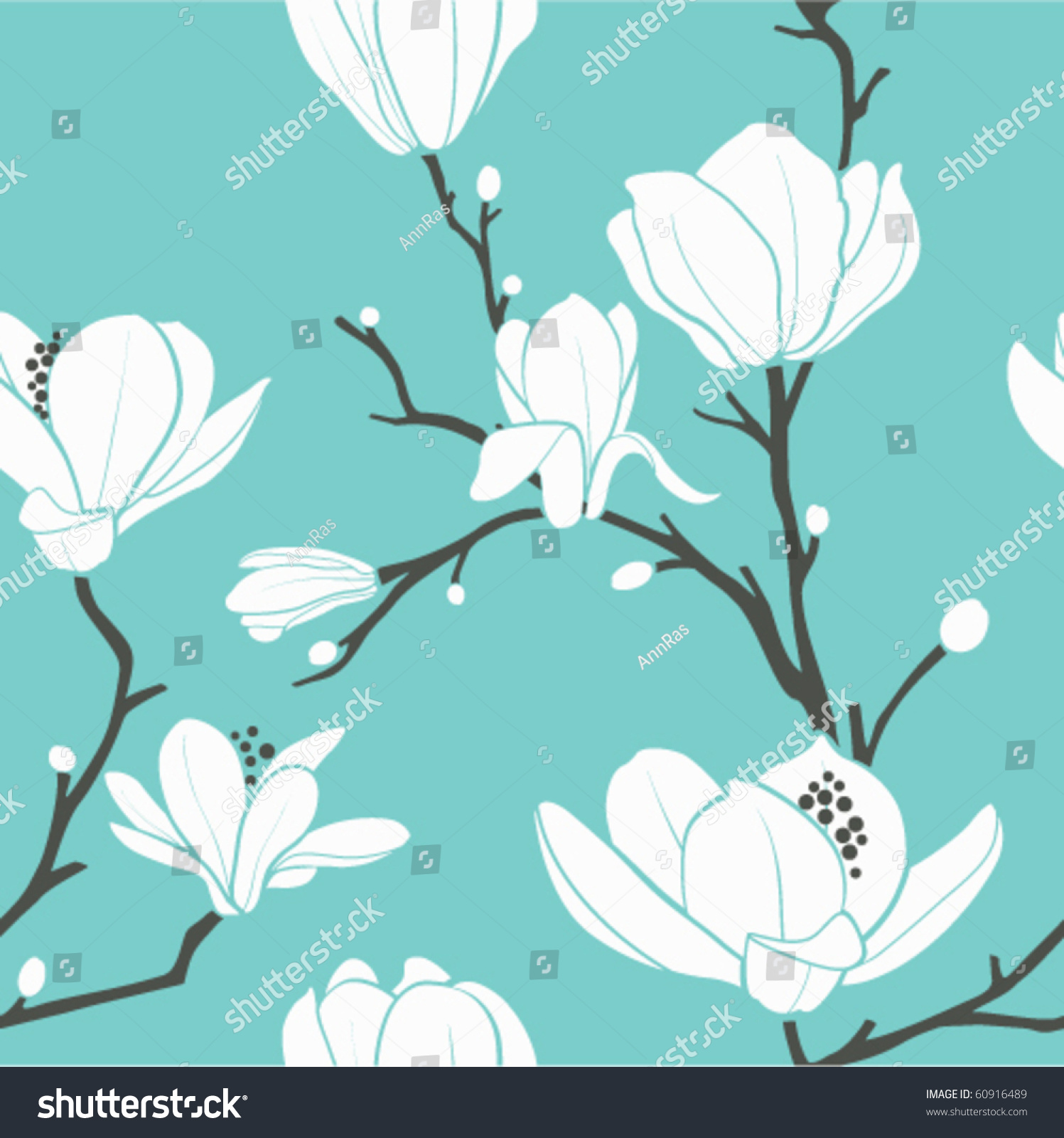 木兰花的无缝矢量图形-背景/素材