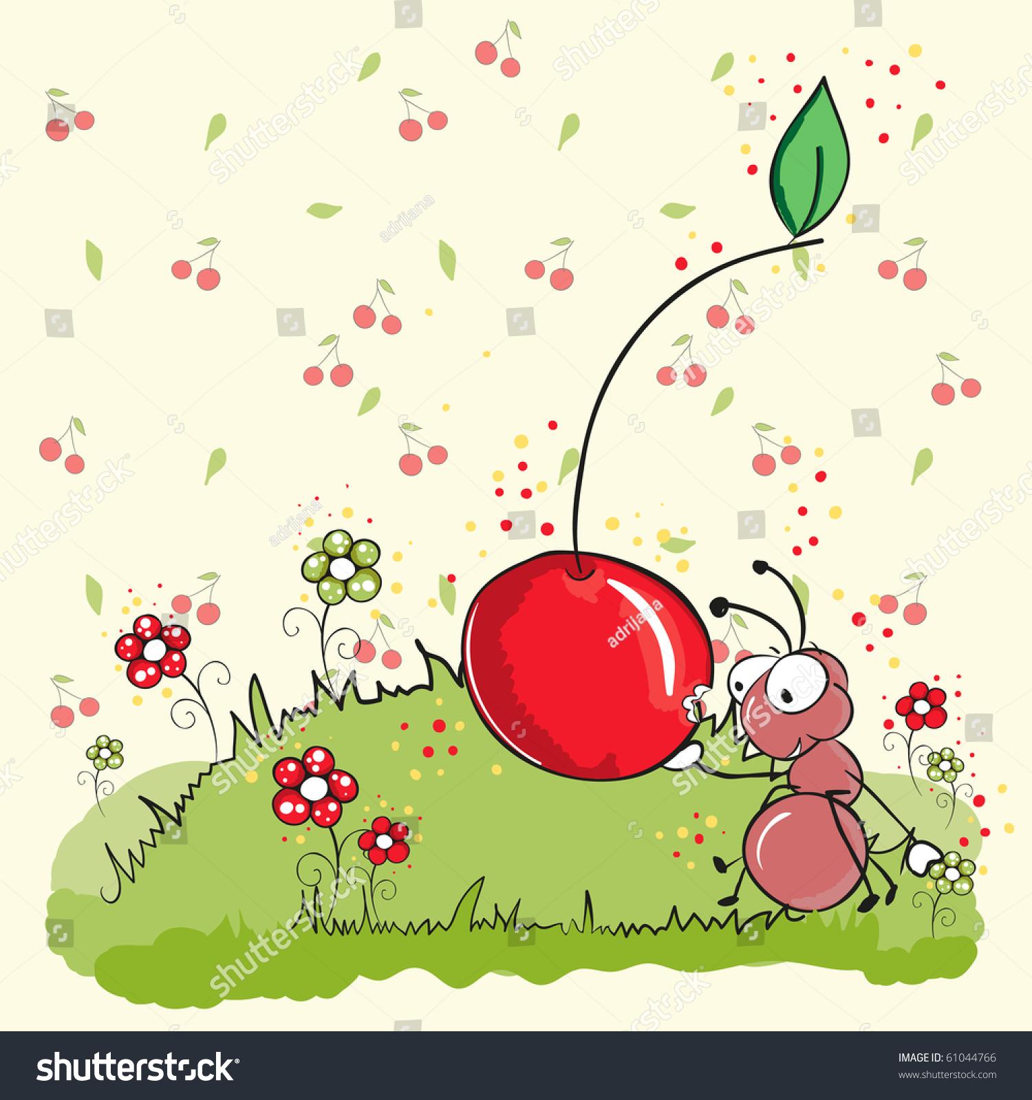 粉红色的蚂蚁吃樱桃——一切分组,方便使用-背景/素材