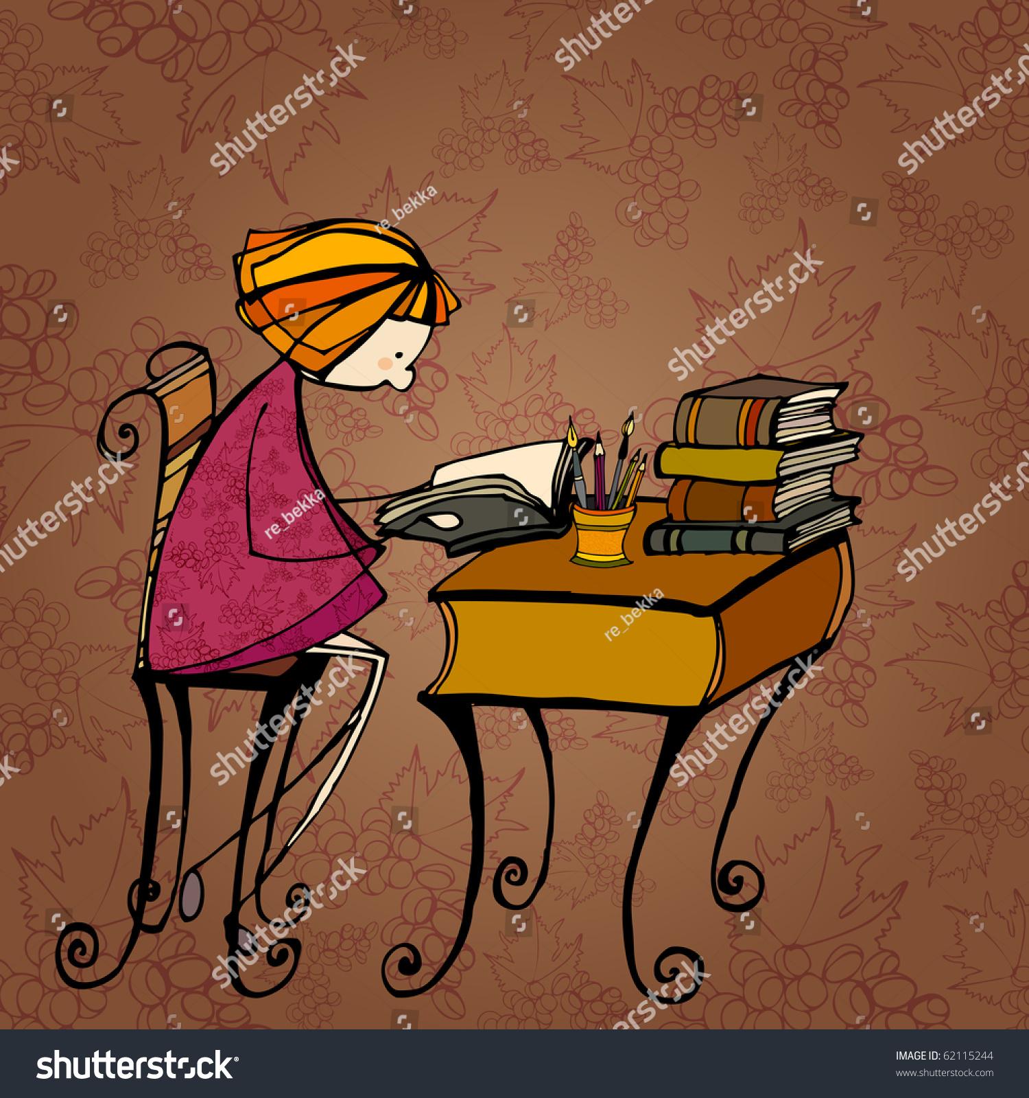 说明秋天背景和可爱的小女孩学习-背景/素材,插图/图