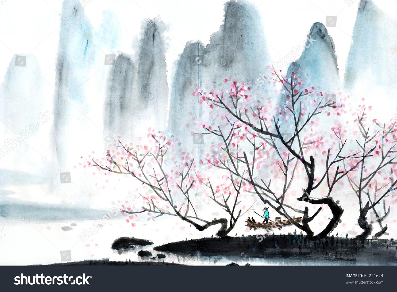 中国山水画-插图/剪贴图,自然-海洛创意(hellorf)--.