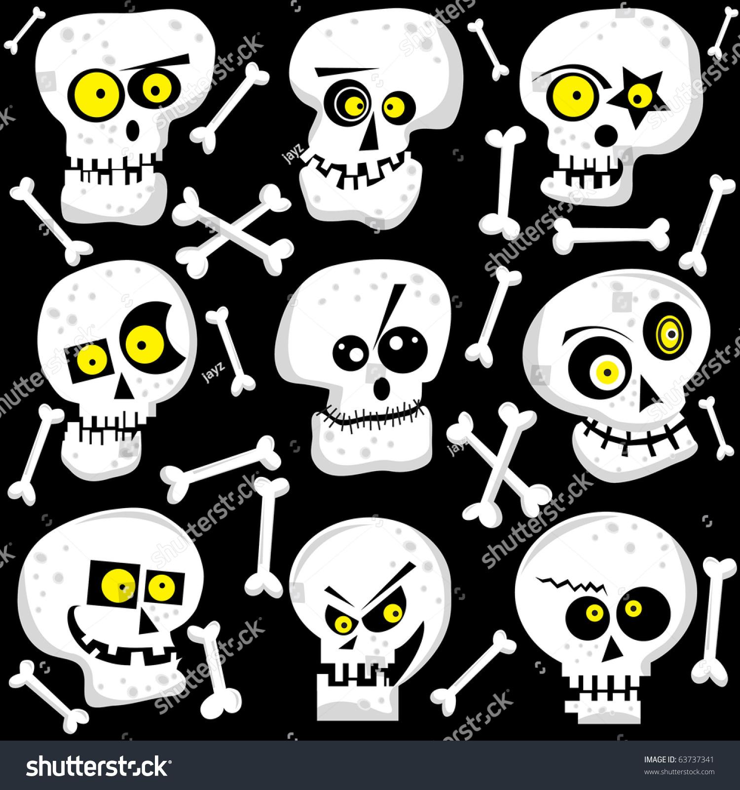 可爱的骷髅脸-假期,插图/剪贴图-海洛创意(hellorf)