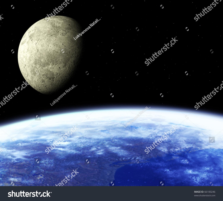 地球与月球.空间观-插图/剪贴图,自然-海洛创意()-合.