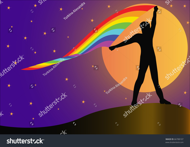 插图剪影人不断发展中彩虹月亮的背景-人物