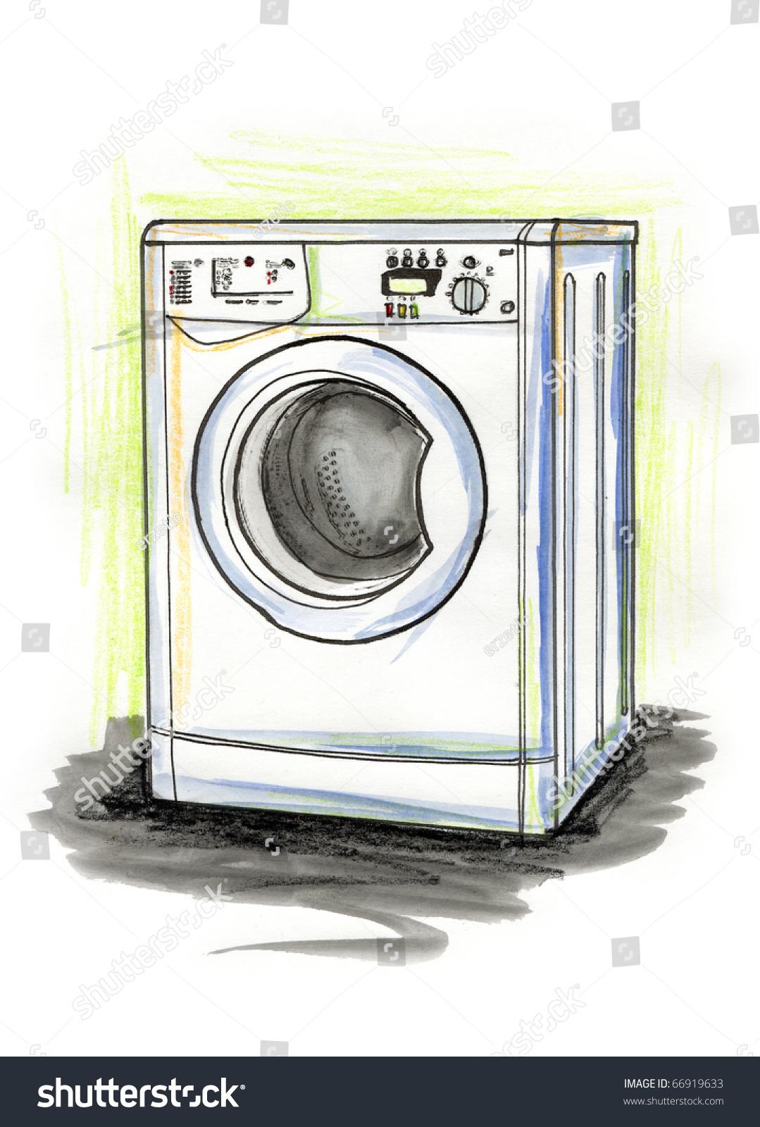 手绘插图的洗衣机在白色背景上