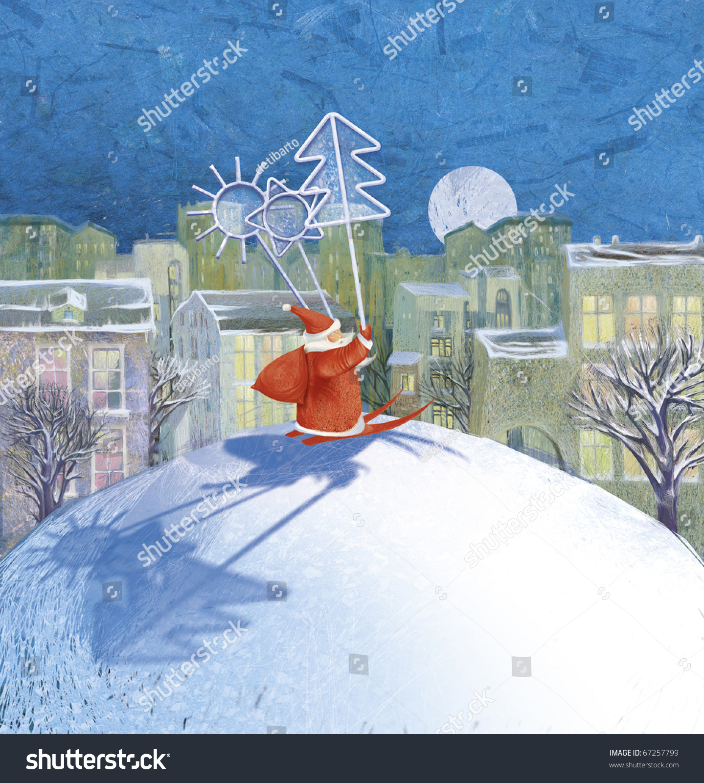 颜色画冬天的风景(新年)等待一个奇迹-假期