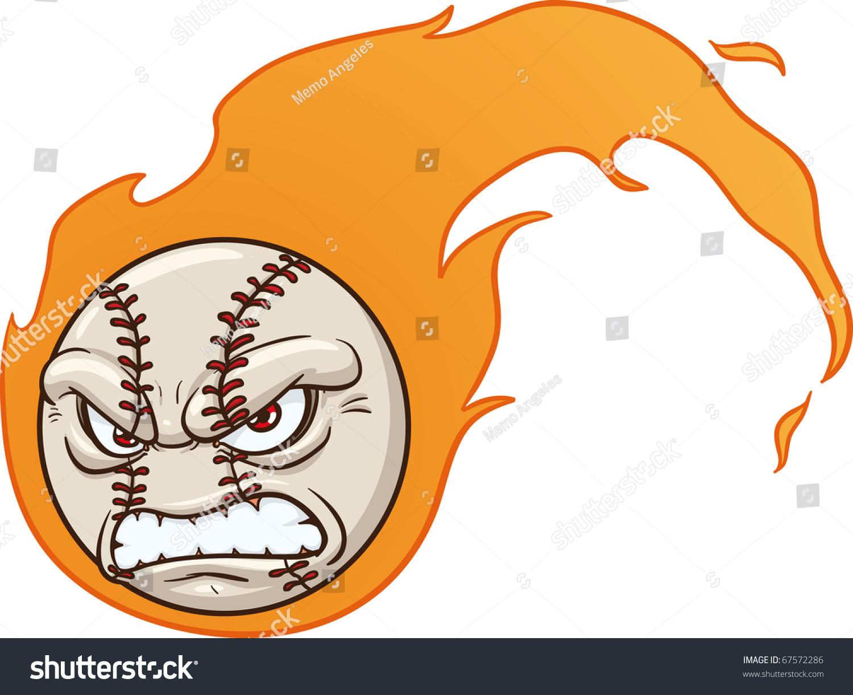 愤怒的卡通吉祥物棒球.使用简单的梯度矢量插图