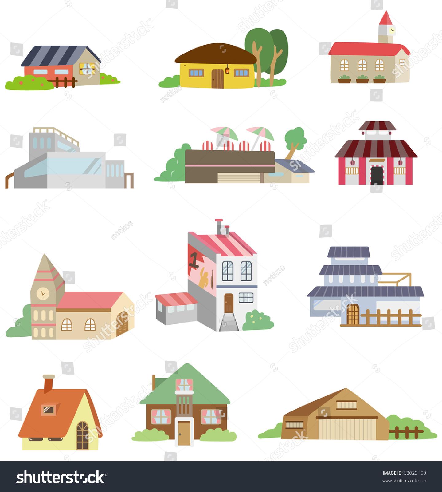卡通房子图标-插图/剪贴图