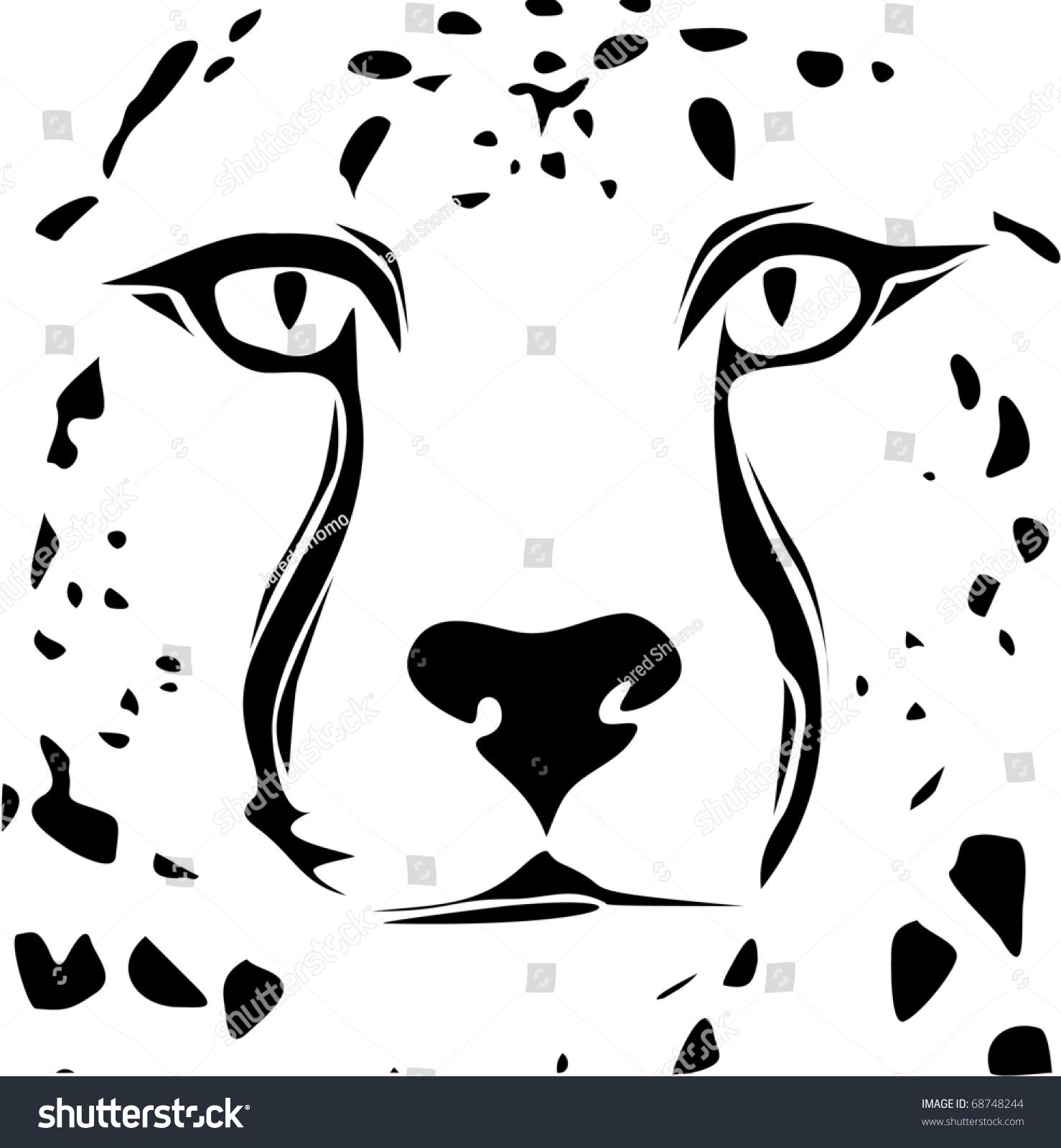 栅格猎豹脸部落设计-动物/野生生物,插图/剪贴图-海洛