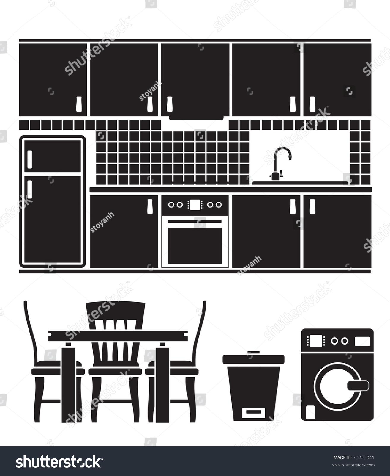 厨房物品,家具和设备——矢量插图