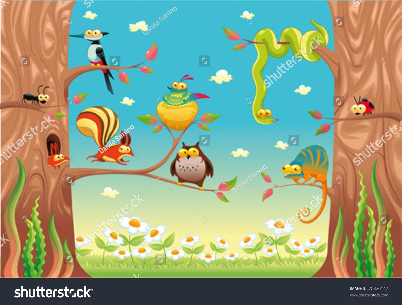有趣的动物在树枝上.卡通和矢量