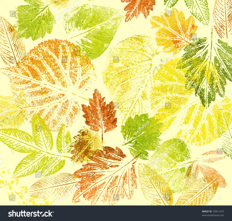 摘要背景,水彩:树叶,手画在纸上-艺术,自然-海洛创意