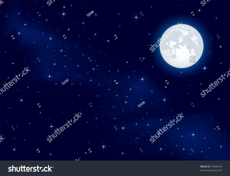 晚上的背景,在深蓝色的天空,月亮和星星插图-插图/图