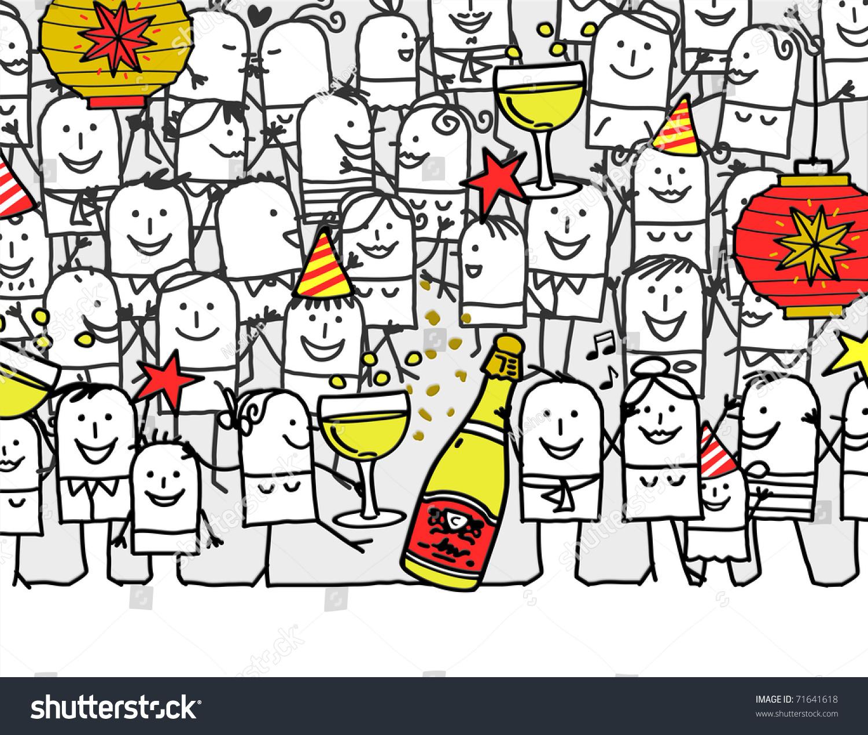 新年快乐-手绘卡通贺卡-假期