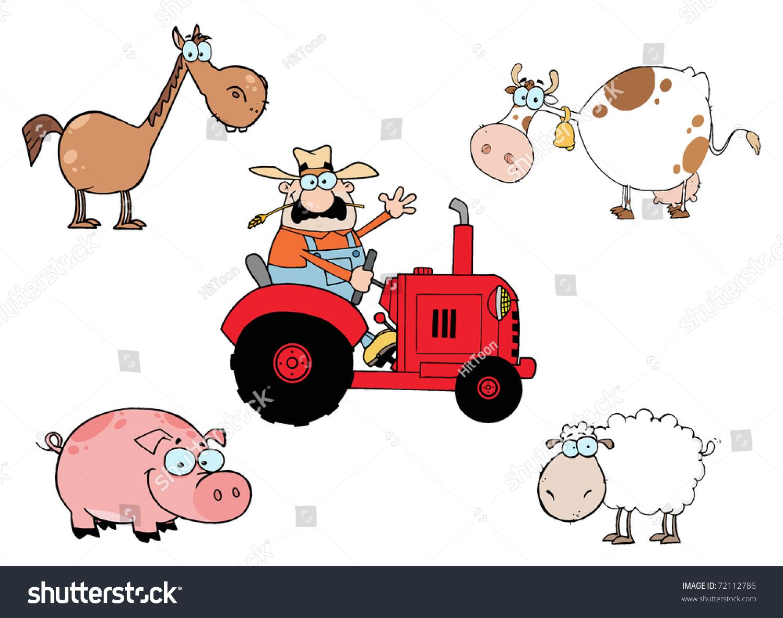 农场动物卡通人物-插图/剪贴图