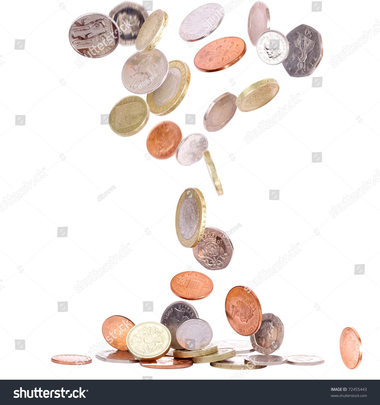 堆的英国硬币掉到地上-商业/金融,物体-海洛创意()-合