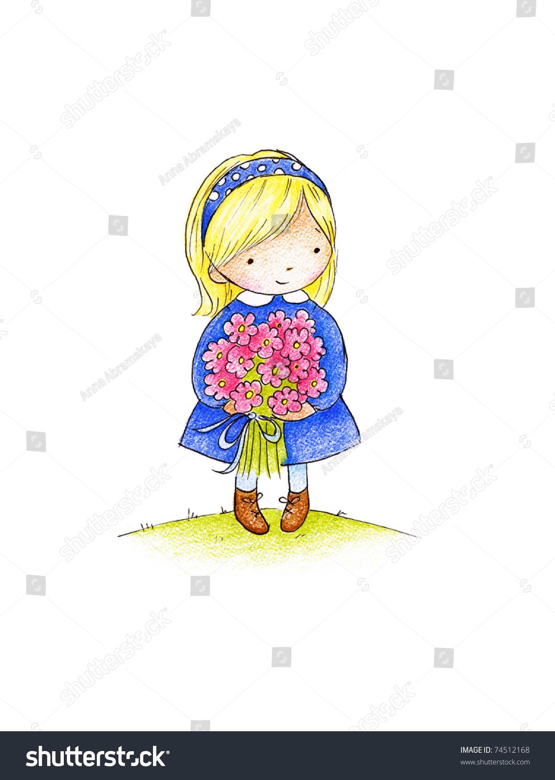可爱的小女孩一束粉红色的花朵-背景/素材
