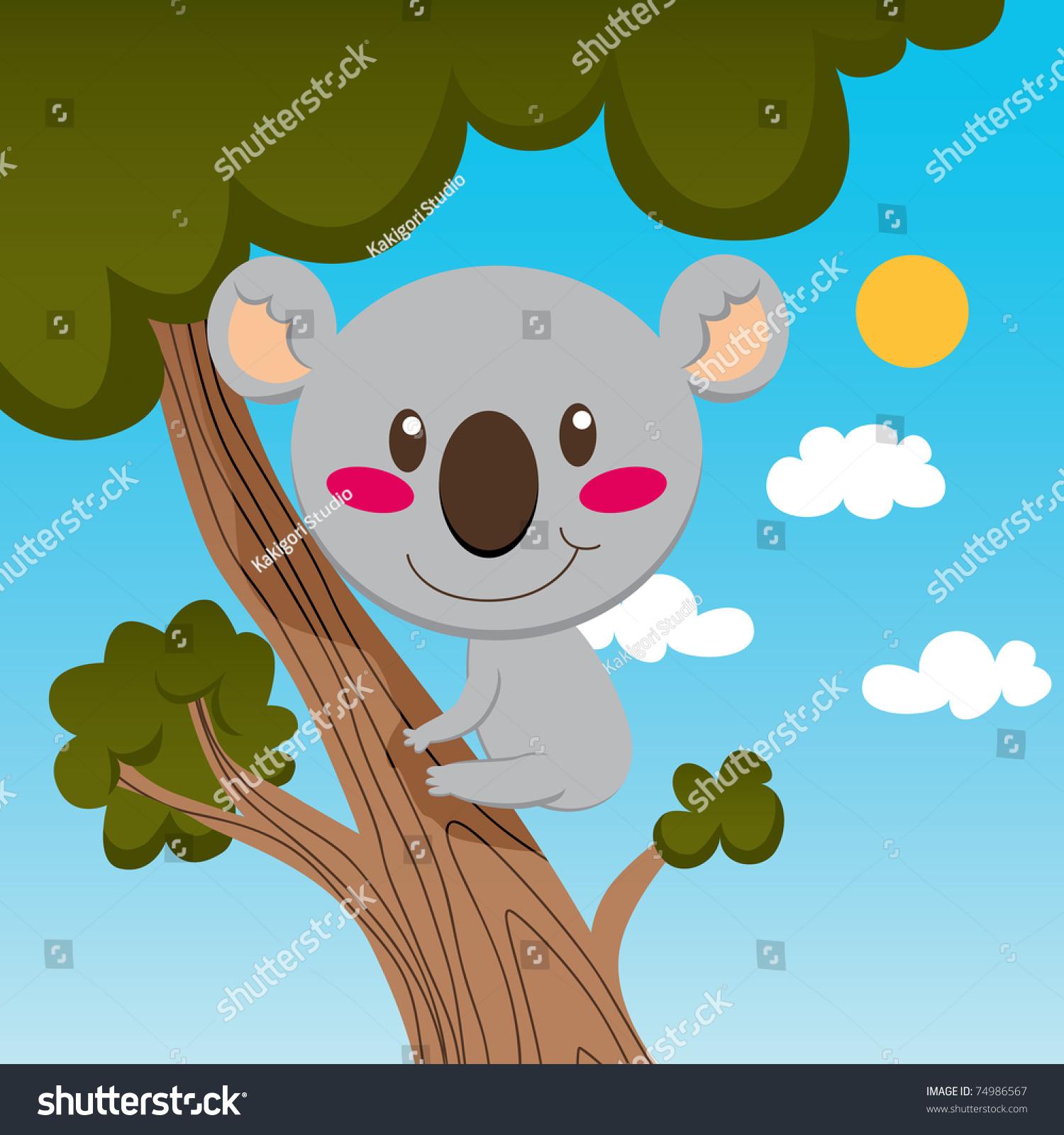 小考拉微笑高树枝上享受自然-动物/野生生物,插图/图
