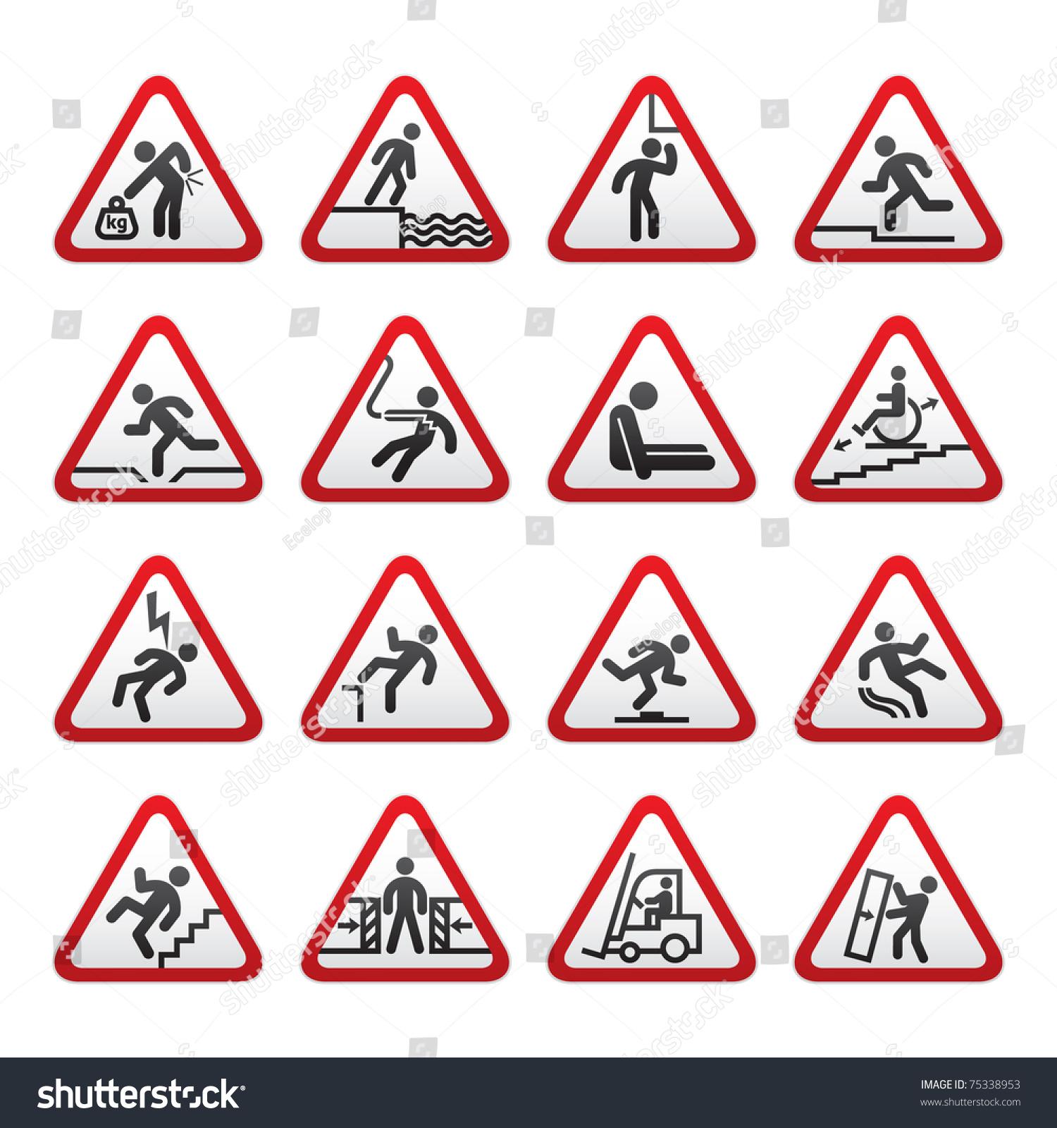 组三维警告危险的迹象-背景/素材,插图/剪贴图-海洛()