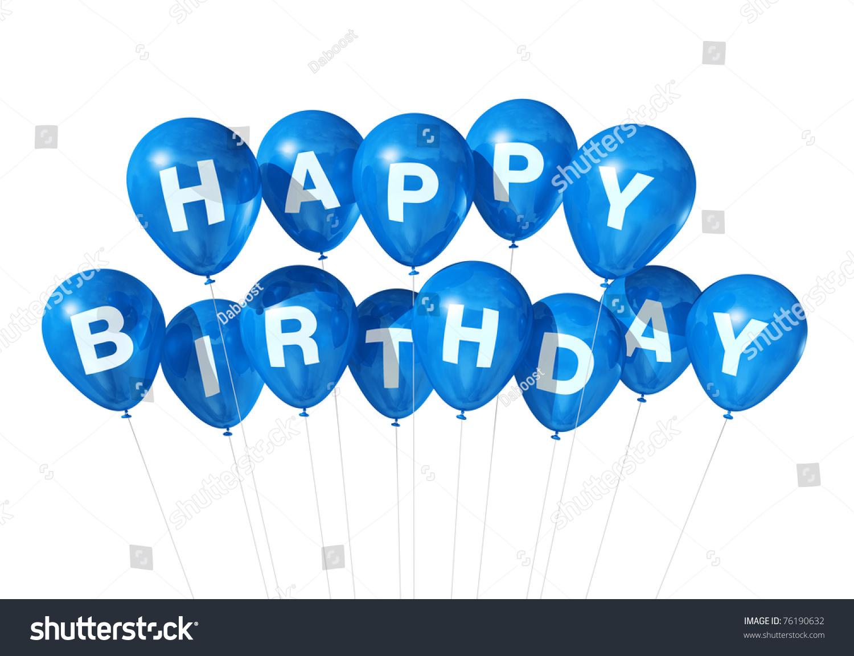 3 d藍生日快樂氣球孤立在白色背景-假期,插圖/剪貼圖