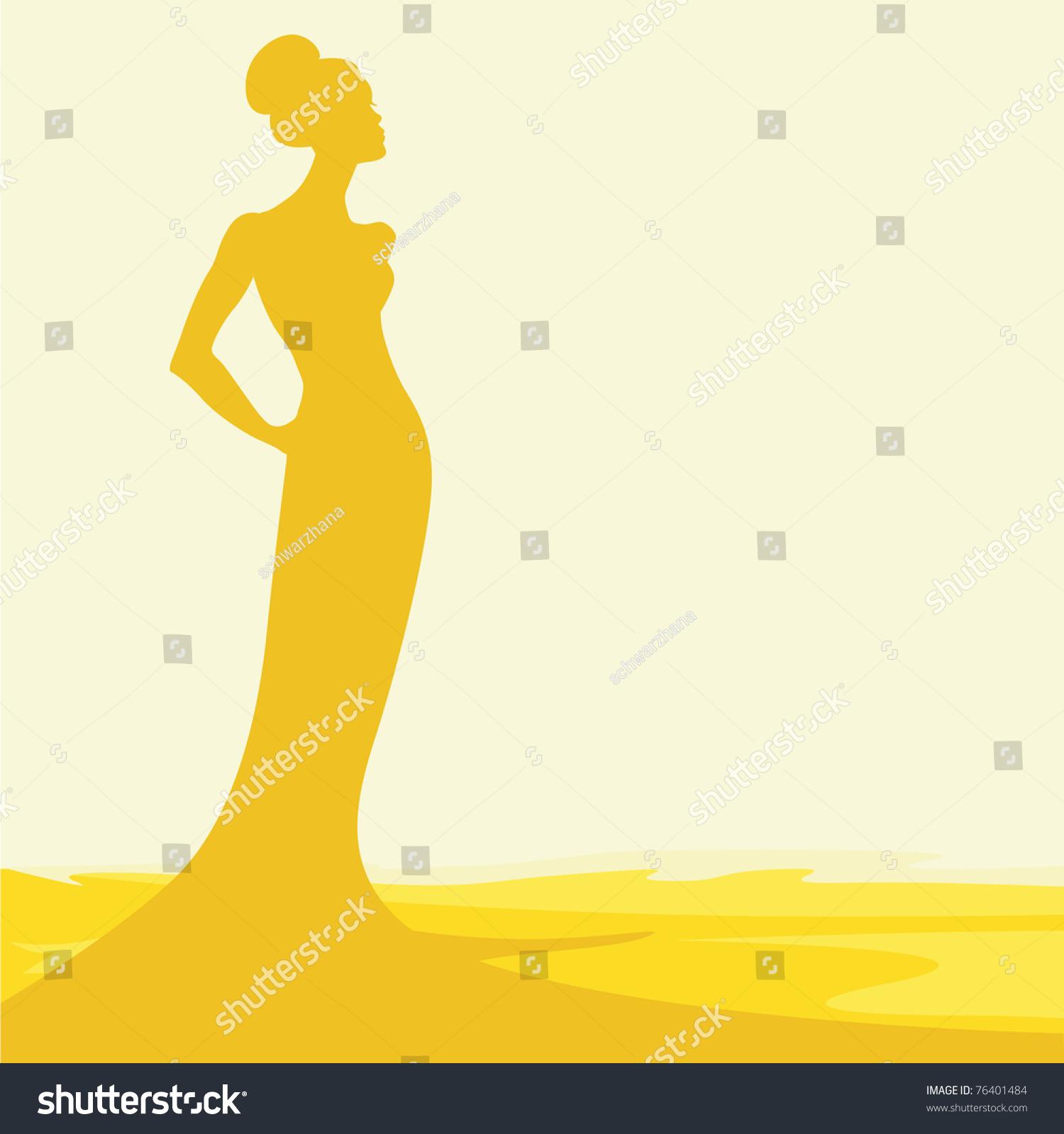 轮廓的女人在热沙-背景/素材,插图/剪贴图-海洛创意()