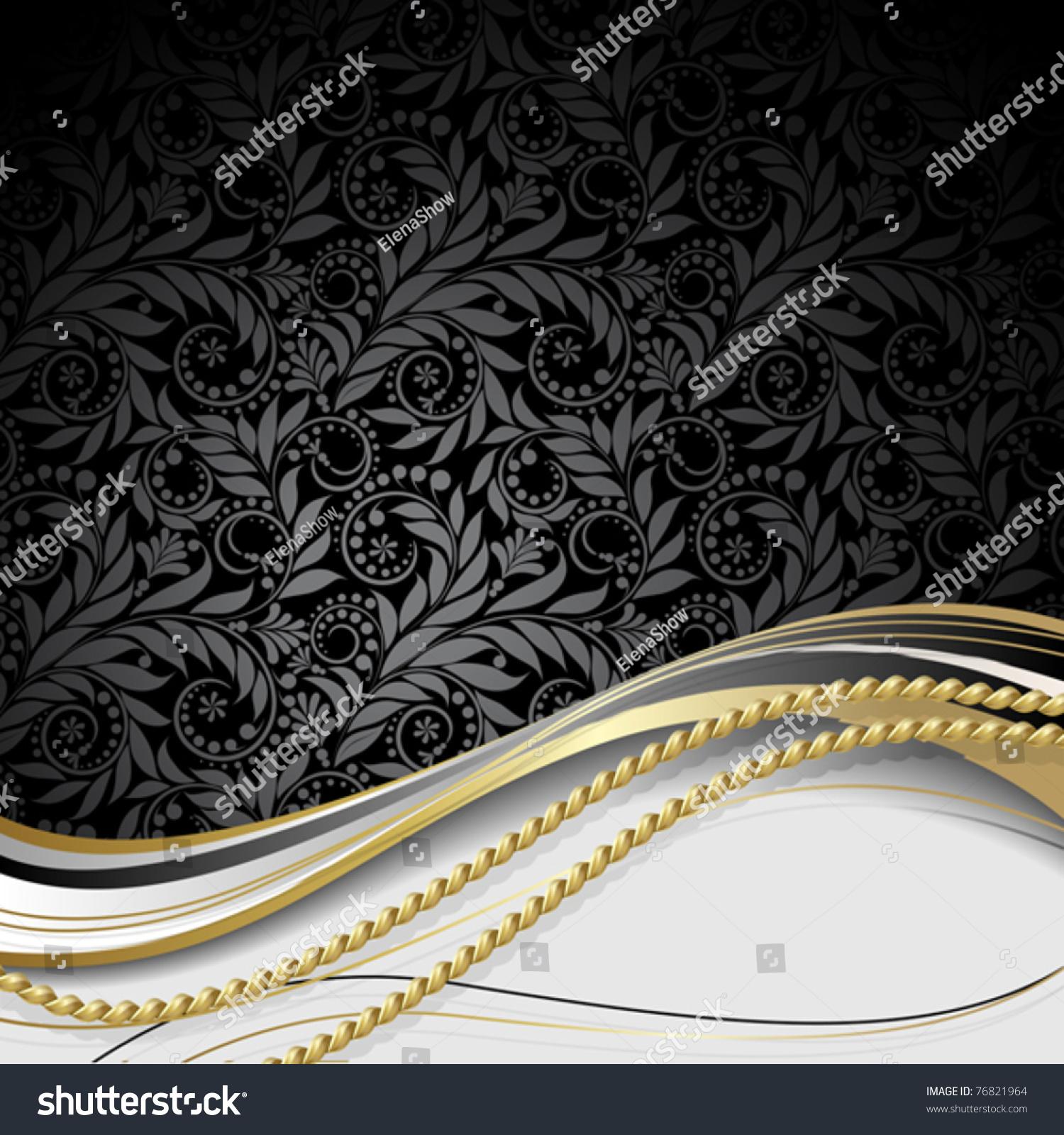 黑色背景用鲜花和树叶和金色绳子.-背景/素材,插图/图