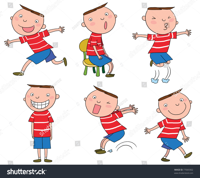 不同动作的一个可爱的卡通男孩-人物,插图/剪贴图-()