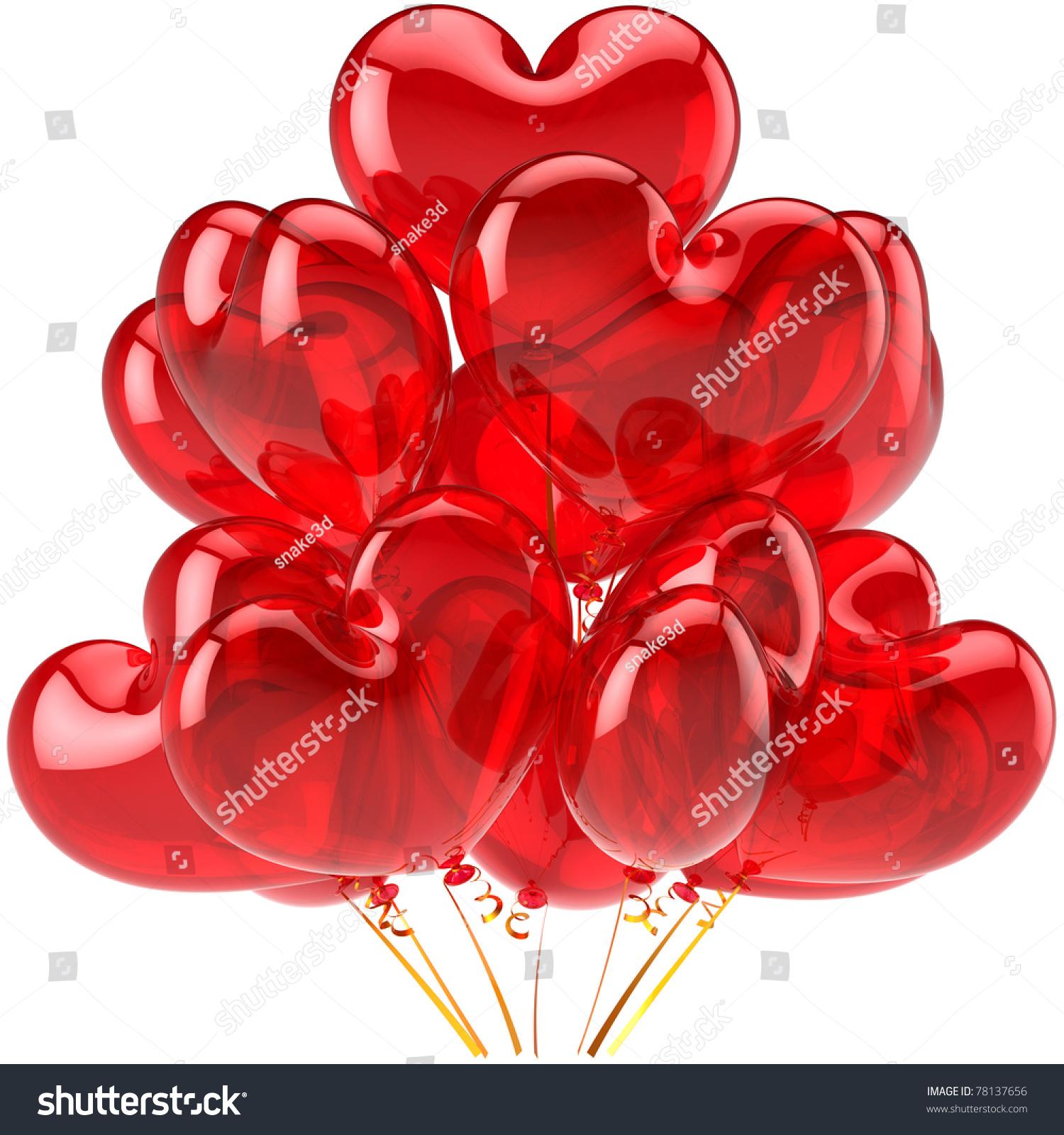 派对气球气球生日快乐的心爱装饰红色半透明的.情人节