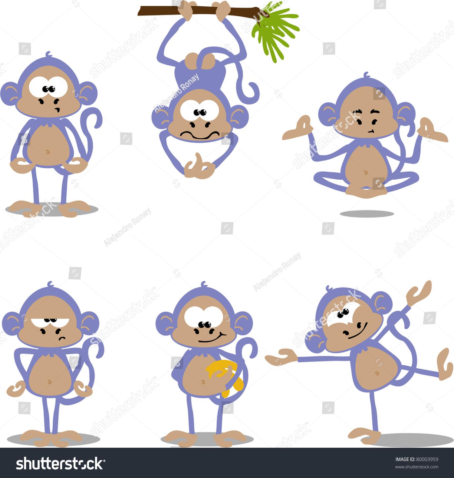 可爱的卡通猴子-动物/野生生物