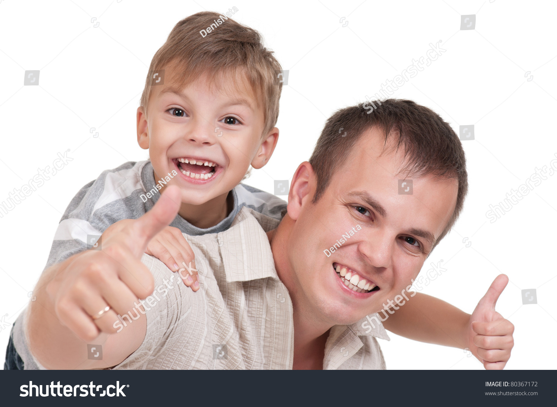 快乐的爸爸和儿子的画像孤立在白色背景