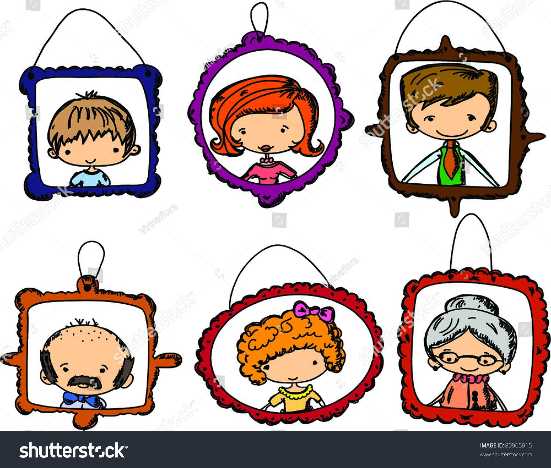 框架中的家庭成员画像-人物,教育-海洛创意(hellorf)
