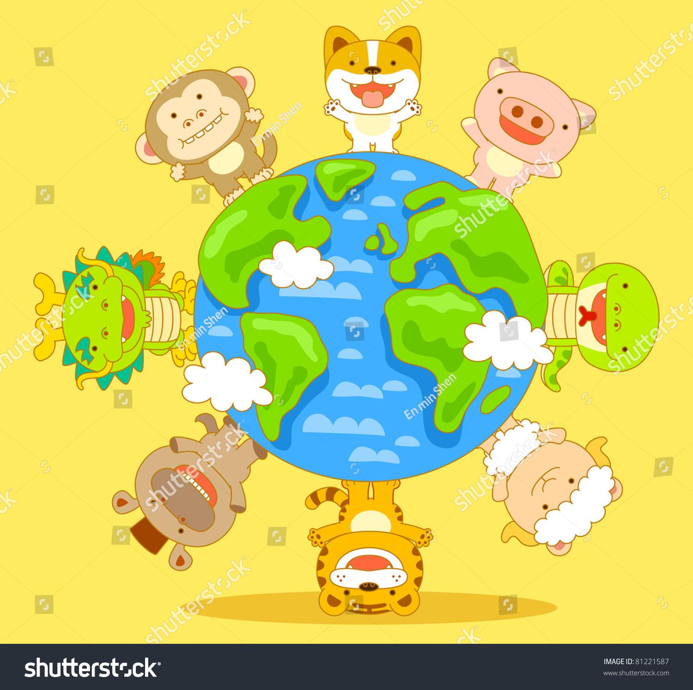 可爱的动物和地球-动物/野生生物