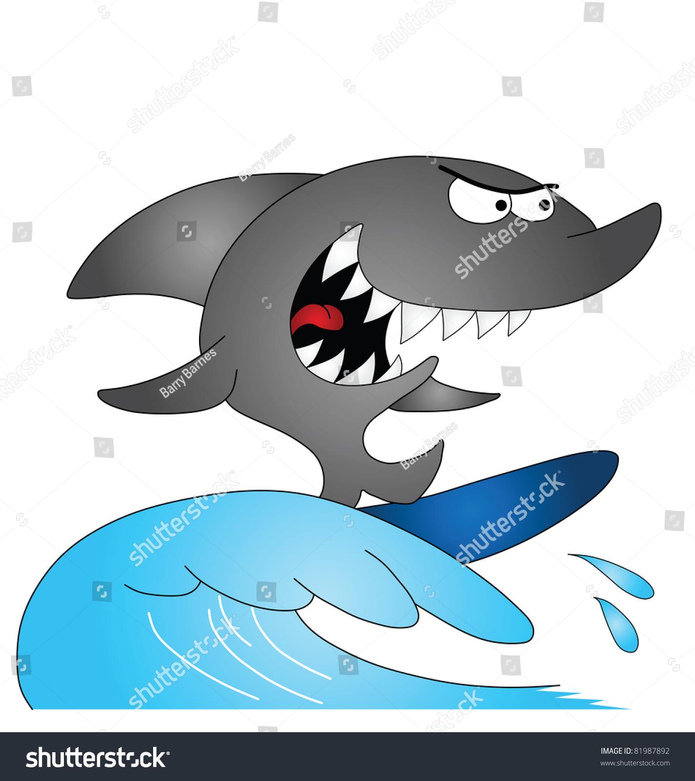 卡通鲨鱼冲浪孤立在白色背景-动物/野生生物,运动/-()