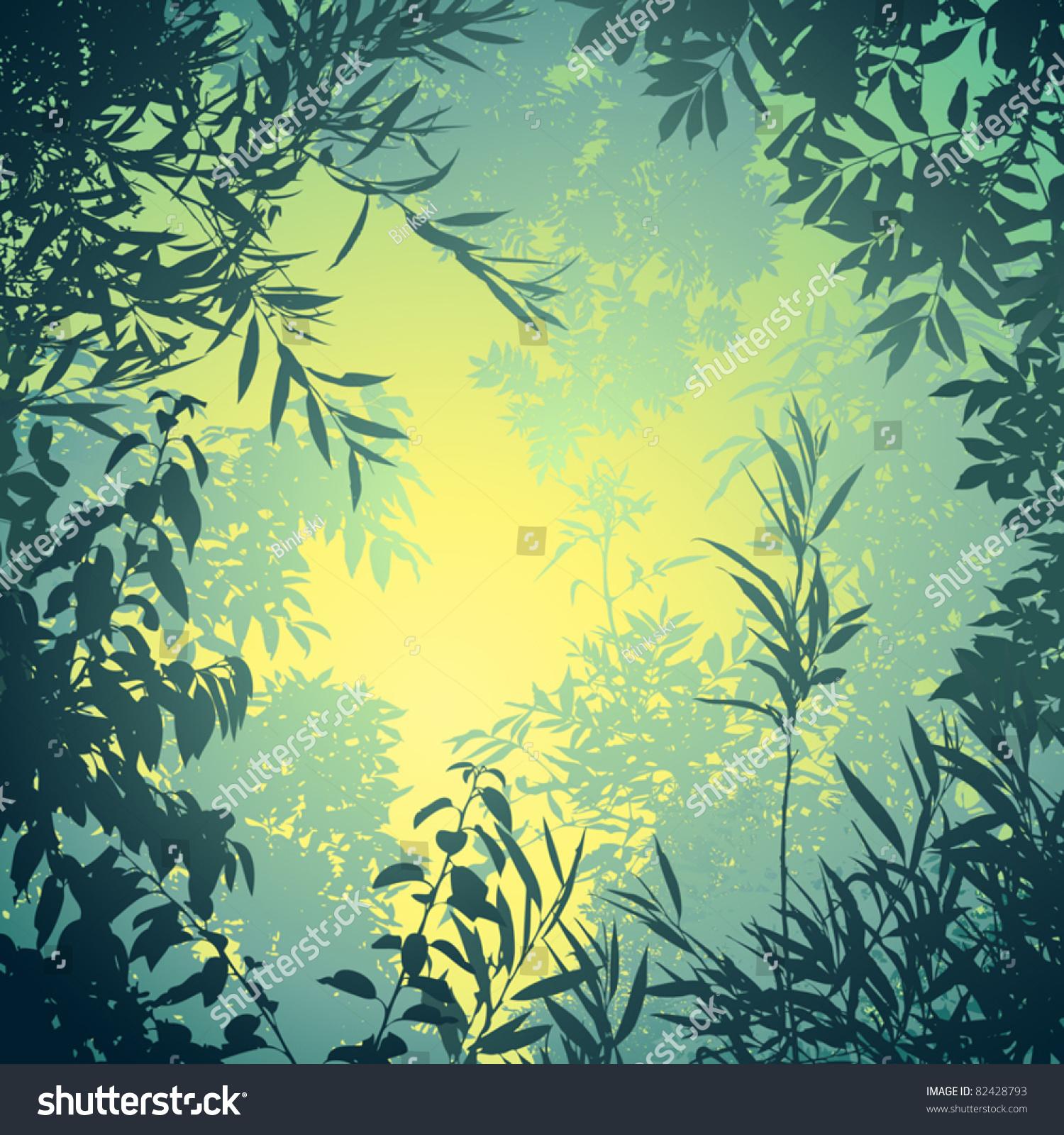 有树木和树叶的花卉背景-背景/素材
