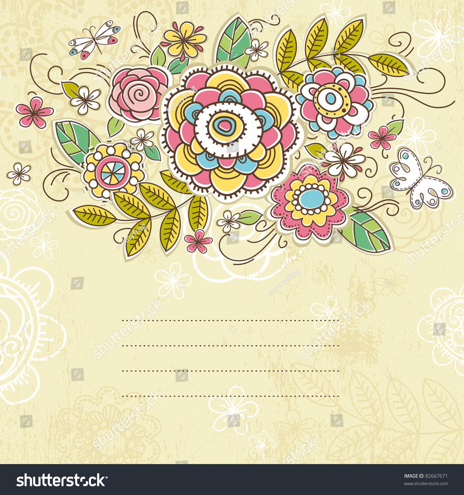 背景的手绘花朵,矢量插图-背景/素材