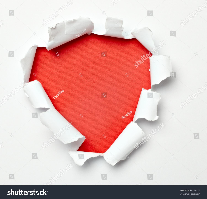在白色背景上撕下一个撕纸洞-背景/素材,物体-海洛()
