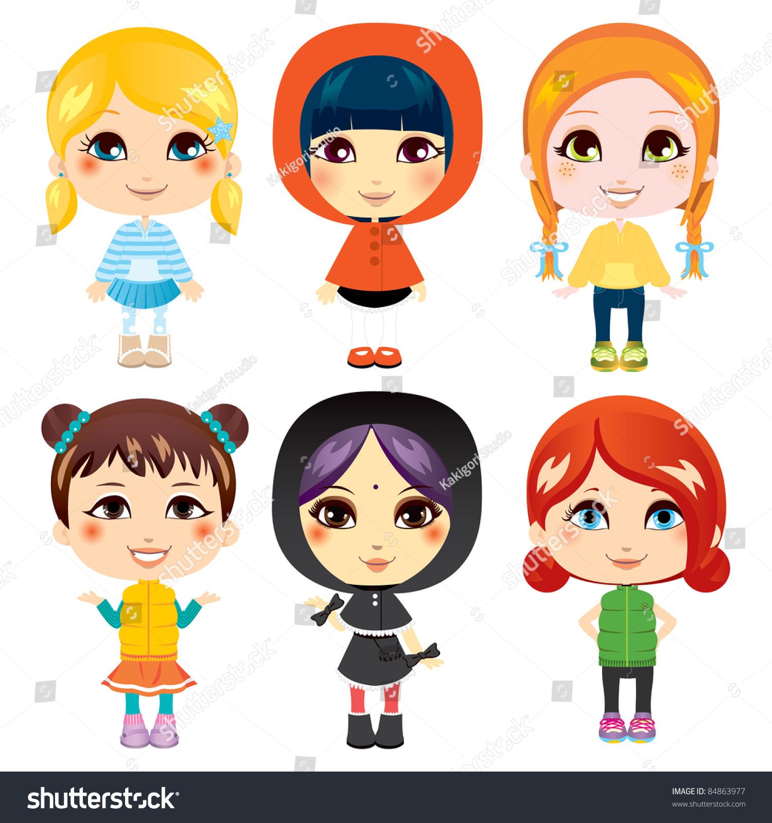 六个可爱的小女孩来自不同民族和不同的服装风格