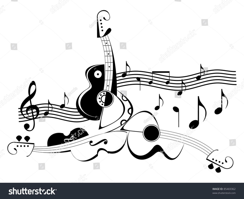 吉他和小提琴.黑色和白色抽象的矢量插图