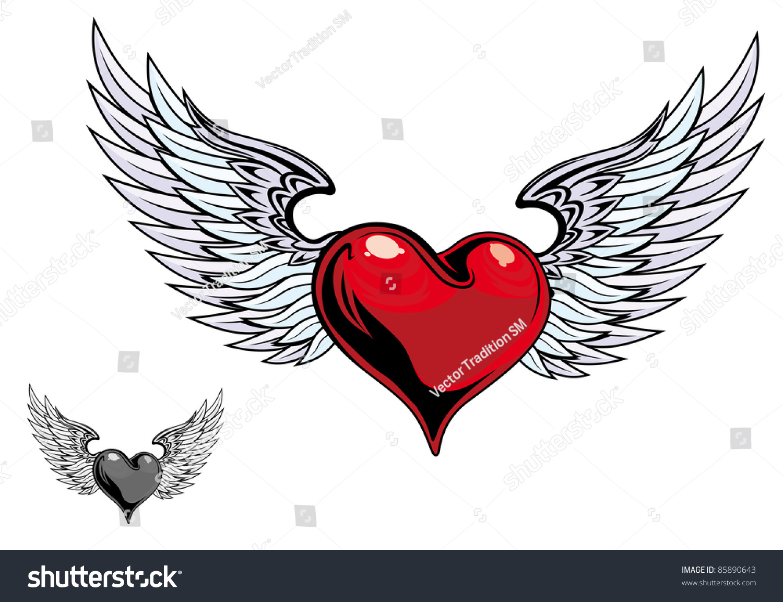 复古色心有翅膀纹身设计.向量的版本也可以在画廊