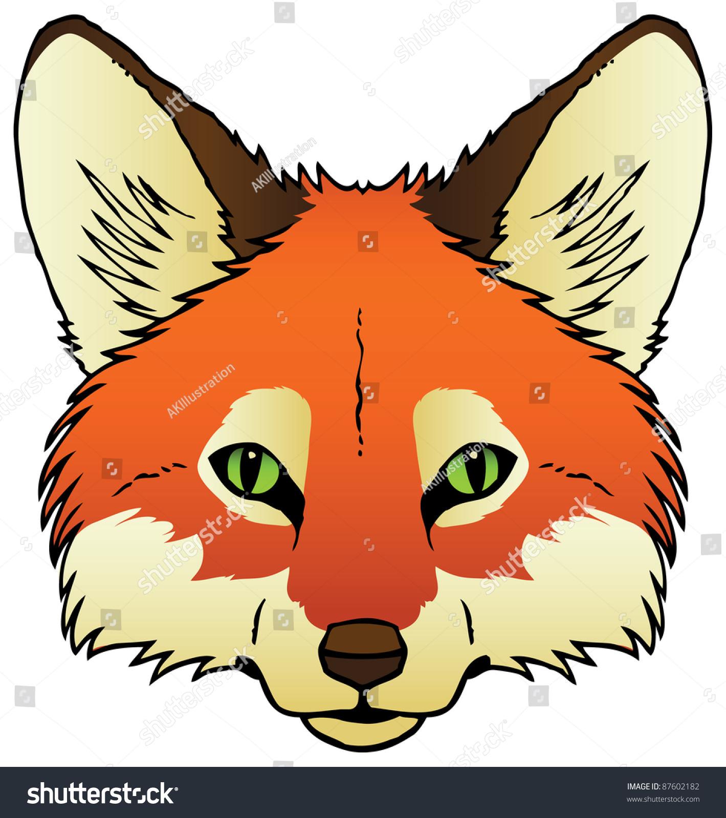 一只狐狸的脸的墨水画.光栅.-动物/野生生物,自然-()