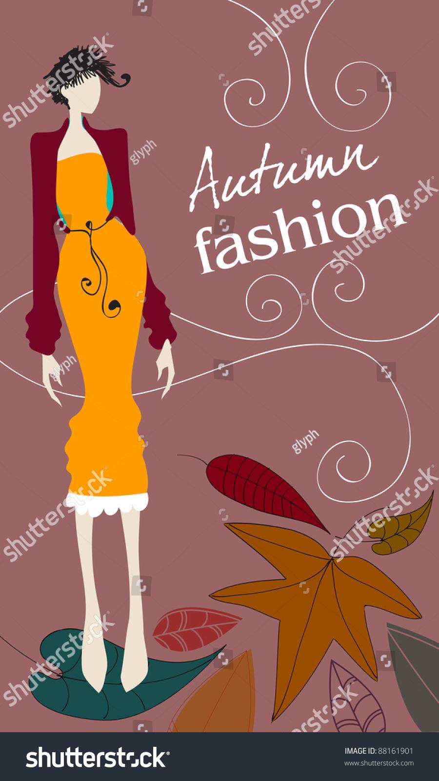 可爱的手绘花卉女孩——秋季时装插图-人物,自然-海洛