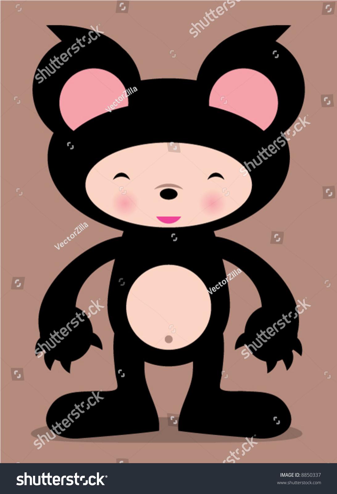可爱的熊向量漫画插图!