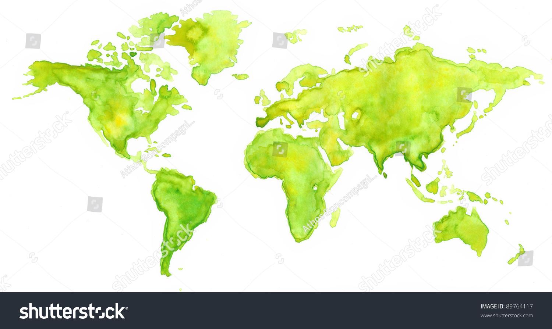 世界地图画水彩画的绿色-背景/素材