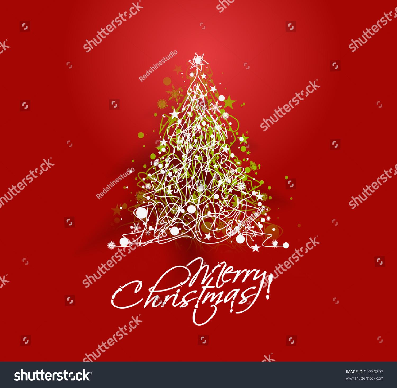 彩色插图与红色装饰圣诞树.圣诞节的主题-假期,抽象